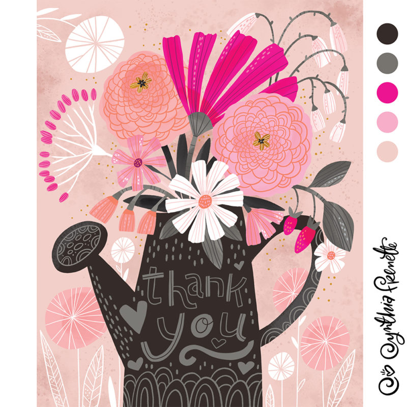 floral thank you illustration