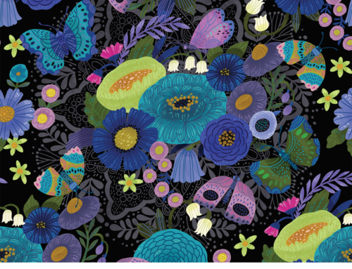 Spoonflower design challenge entry, Moody Florals