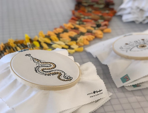 A visit from Spoonflower, stitching, and designs to stitch yourself!