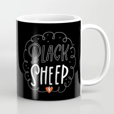 Coffee mug that says Black Sheep