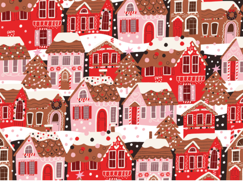 Spoonflower design challenge: Gingerbread Houses