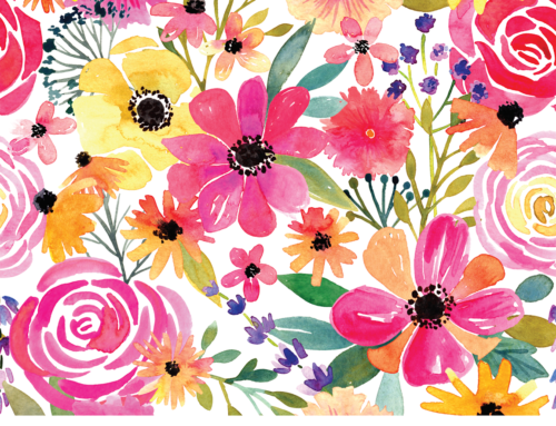 Watercolor Floral Frenzy, new fabric design, and Skillshare!
